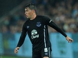 Bryan Oviedo of Everton in action on his comeback from injury during the Capital One Cup Third Round match between Swansea City and Everton at Liberty Stadium on September 23, 2014