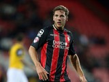 Dan Gosling of AFC Bournemouth in action during the Capital One Cup Second Round match between AFC Bournemouth and Northampton Town at Goldsands Stadium on August 26, 2014