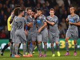 Emmanuel Riviere of Newcastle is mobbed by team mates after scoring during the Capital One Cup Third Round match between Crystal Palace and Newcastle United at Selhurst Park on September 24, 2014