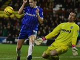 Stuart Nelson of Gillingham saves the shot from Alan Judge of Brentford during the Sky Bet League One match between Brentford and Gillingham at Griffin Park on January 24, 2014