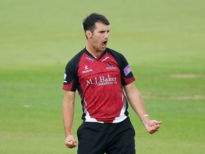 Lewis Gregory of Somerset celebrates dismissing Jason Roy of Surrey during the Royal London One-Day Cup match between Surrey and Somerset at The Kia Oval on August 20, 2014