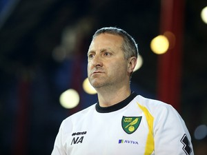 Norwich manager Neil Adams during the Sky Bet Championship match between Brentford and Norwich City at Griffin Park on September 16, 2014