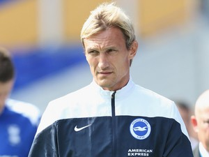 Sami Hyypia the manager of Brighton & Hove Albion during the Sky Bet Championship match between Birmingham City and Brighton & Hove Albion at St Andrews (stadium) on August 16, 2014