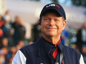 United States team captain Tom Watson smiles from the 1st tee during the Morning Fourballs of the 2014 Ryder Cup on September 27, 2014