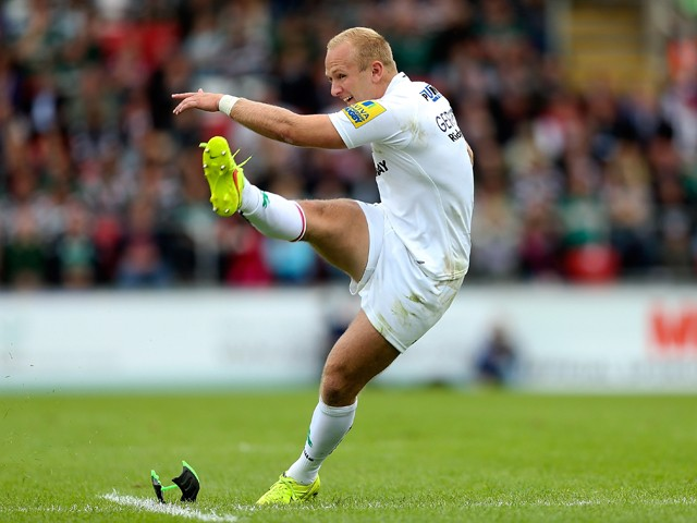 Shane Geraghty of London Irish kicks a penalty during the Aviva Premiership match between Leicester Tigers and London Irish at Welford Road on September 27, 2014