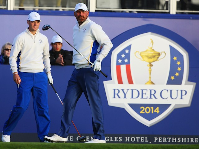 Thomas Bjorn of Europe watches his drive on the 1st tee with partner Martin Kaymer during the Morning Fourballs of the 2014 Ryder Cup on the PGA Centenary course at Gleneagles on September 27, 2014