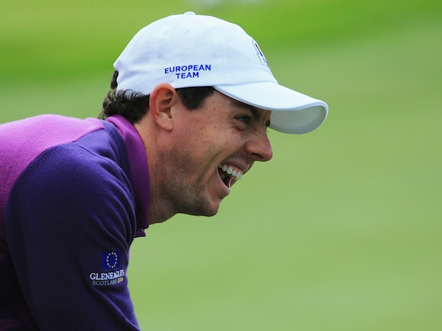 Rory McIlroy of Europe laughs during practice ahead of the 2014 Ryder Cup on the PGA Centenary course at the Gleneagles Hotel on September 24, 2014