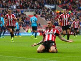 Steven Fletcher of Sunderland celebrates scoring the second goal during the Barclays Premier League match between Sunderland and Stoke City at Stadium of Light on October 4, 2014