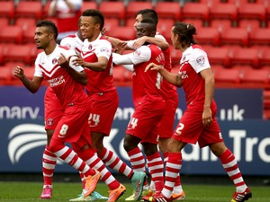 Charlton celebrate with Igor Vetokele after he scores to make it 1-0 during the Sky Bet Championship match between Charlton Athletic and Birmingham City at The Valley on October 4, 2014