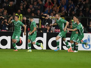 Ludogorets Razgrad's midfielder Marcelinho celebrates after scoring a goal during the UEFA Champions League Group B football match between Ludogorets Razgrad and Real Madrid at the Vassil Levski stadium in Sofia on October 1, 2014