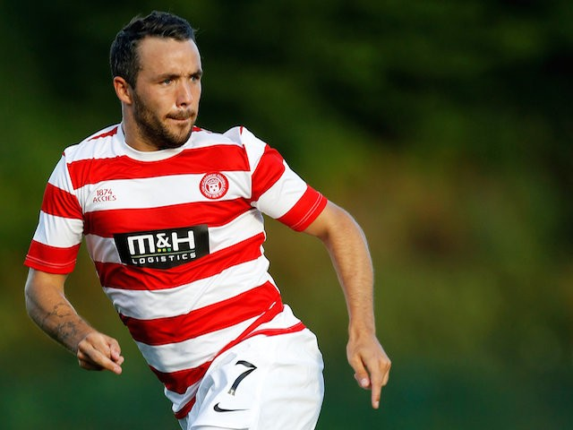 Dougie Imre of Hamilton Academicals during the pre-season friendly at New Douglas Park on July 15, 2014