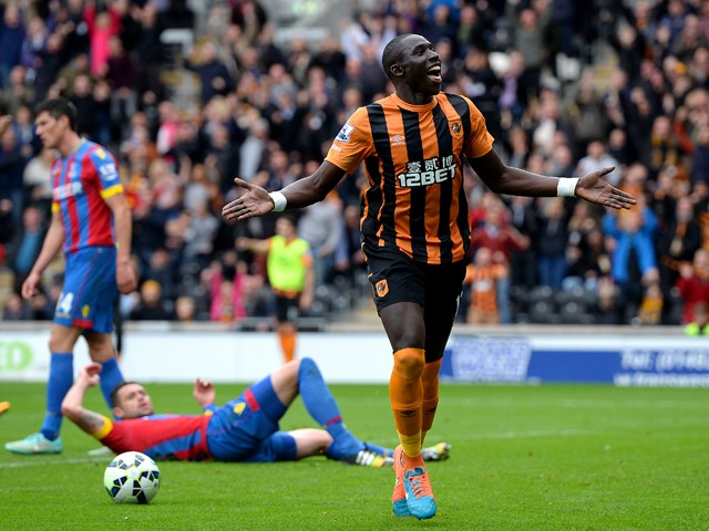 Mohamed Diame of Hull City celebrates after scoring the opening goal during the Barclays Premier League match between Hull City and Crystal Palace at KC Stadium on October 4, 2014