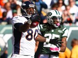 Julius Thomas #80 of the Denver Broncos celebrates a touchdown in the third quarter during a game against the New York Jets at MetLife Stadium on October 12, 2014