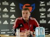 Faroe Island´s headcoach Lars Olsen attends a press conferece