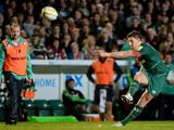 Owen Willaiams of Leicester Tigers kicks a penalty during the Aviva Premiership match between Leicester Tigers and Harlequins at Welford Road on October 10, 2014