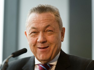 West Ham United Joint Chairman David Sullivan listens to a question during a press conference in east London to announce the new deal between Newham council and West Ham United football club on March 22, 2013