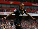 Abel Hernandez of Hull City celebrates after scoring his team's second goal during the Barclays Premier League match between Arsenal and Hull City at Emirates Stadium on October 18, 2014