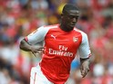 Yaya Sanogo of Arsenal in action during the Emirates Cup match between Arsenal and Benfica at the Emirates Stadium on August 2, 2014
