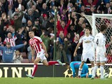 Stoke City's English-born Irish striker Jonathan Walters celebrates scoring his team's second goal during the English Premier League football match between Stoke City and Swansea City at the Britannia Stadium in Stoke-on-Trent, central England on October