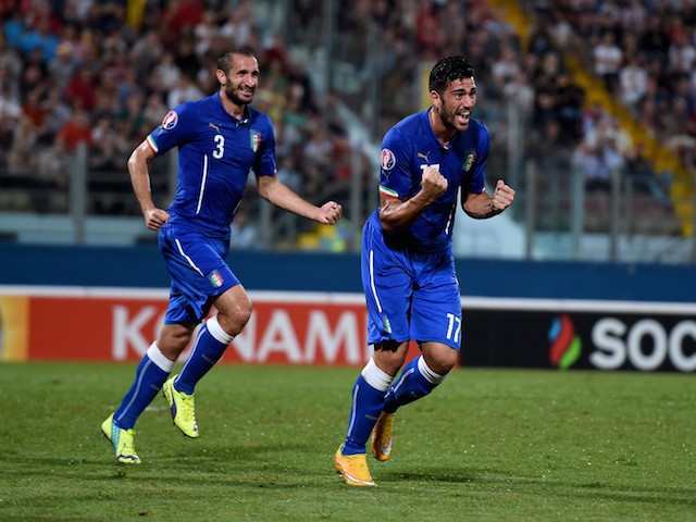 Graziano Pelle of Italy celebrates after scoring the first goal during the EURO 2016 Group H Qualifier match against Malta on October 13, 2014