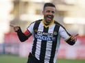 Antonio Di Natale of Udinese Calcio celebrates after scoring his opening goal during the Serie A match between Udinese Calcio and Atalanta BC at Stadio Friuli on October 26, 2014
