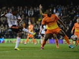 Hugo Rodallega of Fulham scores his goal durHugo Rodallega of Fulham scores his goal during the Sky Bet Championship match between Fulham and Charlton Athletic at Craven Cottage on October 24, 2014ing the Sky Bet Championship match between Fulham and Char