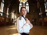 Taekwondo Olympic gold medallist Jade Jones poses ahead of the WTF World Taekwondo Grand Prix in Manchester, England on September 10, 2014