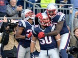 Rob Ninkovich #50 of the New England Patriots reacts with Logan Ryan #26 and Akeem Ayers #52 after recovering a fumble for a touchdown during the second quarter against the Chicago Bears at Gillette Stadium on October 26, 2014