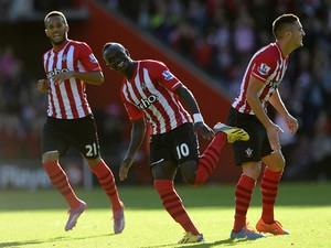 Sadio Mane of Southampton celebrates after scoring the opening goal during the Barclays Premier League match between Southampton and Stoke City at St Mary's Stadium on October 25, 2014
