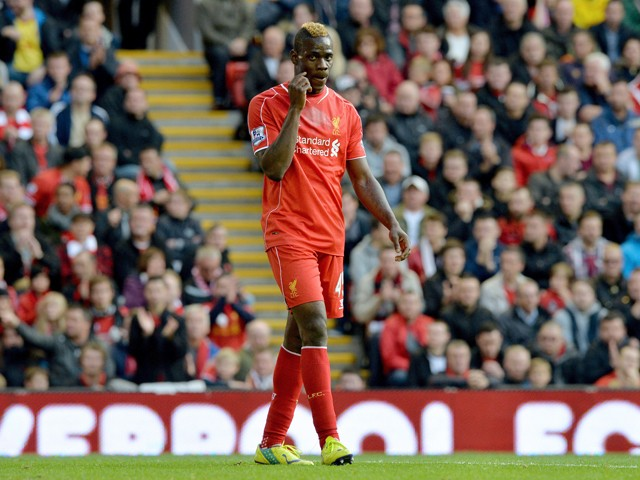 Liverpool's Italian forward Mario Balotelli is pictured during the English Premier League football match between Liverpool and Hull City at the Anfield stadium in Liverpool, northwest England, on October 25, 2014