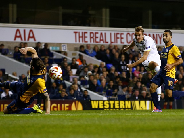 Harry Kane of Spurs scores the opening goal during the UEFA Europa League group C match between Tottenham Hotspur FC and Asteras Tripolis FC at White Hart Lane on October 23, 2014