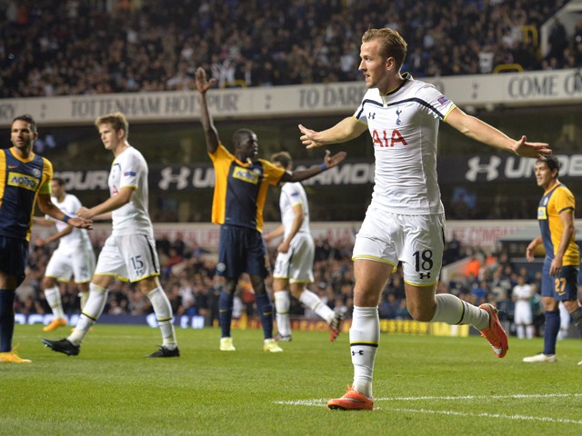 Tottenham Hotspur's English striker Harry Kane celebrates scoring his second and his team's fourth goal during the UEFA Europa League group C football match between Tottenham Hotspur and Asteras Tripolis at White Hart Lane in north London, on October 23,