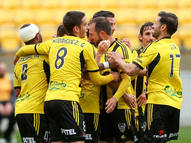 Phoenix players celebrate the goal of Michael McGlinchey during the round three A-League match between the Wellington Phoenix and the Newcastle Jets at Westpac Stadium on October 26, 2014