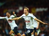 Harry Kane of Spurs celebrates scoring their second goal during the Barclays Premier League match against Aston Villa on November2, 2014