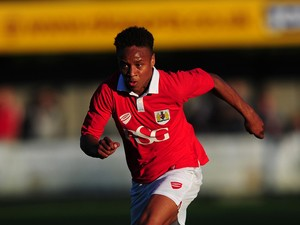 Bobby Reid of Bristol City in action during the Pre-Season Friendly match between Weston-super-Mare AFC and Bristol City at Woodspring Stadium on July 9, 2014