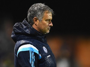 Jose Mourinho manager of Chelsea looks on during the Capital One Cup Fourth Round match between Shrewsbury Town and Chelsea at Greenhous Meadow on October 28, 2014