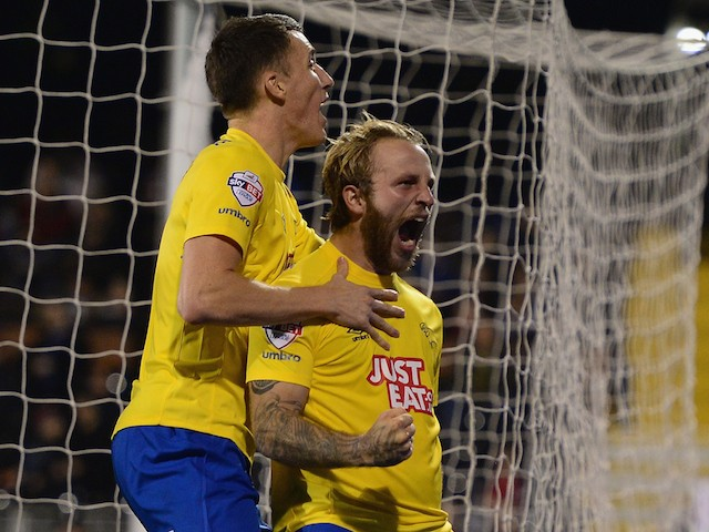 John Russell of Derby County celebrates his goal during the Capital One Cup fourth round match between Fulham Derby County at Craven Cottage on October 28, 2014