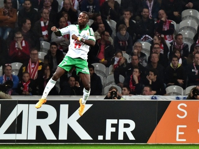 St Etienne's Ivorian forward Max Gradel celebrates after scoring a goal during the French first division L1 football match against Lille OSC on November 1, 2014