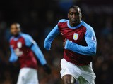 Emile Heskey of Aston Villa runs with the ball during the Barclays Premier League match between Aston Villa and Manchester United at Villa Park on December 3, 2011