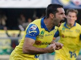 Sergio Pellissier of Chievo celebrates after scoring his team's opening goal during the Serie A match on November 9, 2014