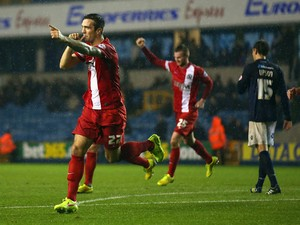 Shane Duffy of Blackburn Rovers celebrates scoring during the Sky Bet Championship match between Millwall and Blackburn Rovers at The Den on November 4, 2014