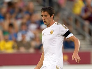 Federico Bessone #21 of Swansea City in action against the Colorado Rapids at Dick's Sporting Goods Park on July 24, 2012