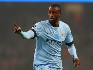 Yaya Toure of Manchester City celebrates scoring his team's first goal during the UEFA Champions League Group E match between Manchester City and CSKA Moscow on November 5, 2014