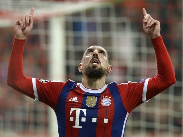 Bayern Munich's French midfielder Franck Ribery celebrates scoring during the UEFA Champions League Group E second-leg football match FC Bayern Munich vs AS Roma in Munich, southern Germany, on November 5, 2014