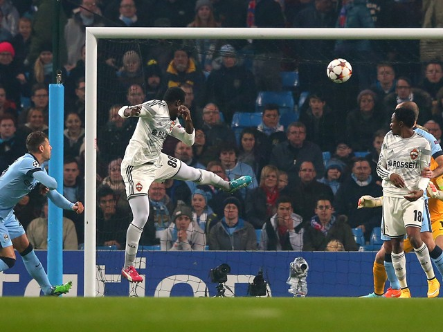 Seydou Doumbia of CSKA Moscow scores the opening goal during the UEFA Champions League Group E match between Manchester City and CSKA Moscow on November 5, 2014