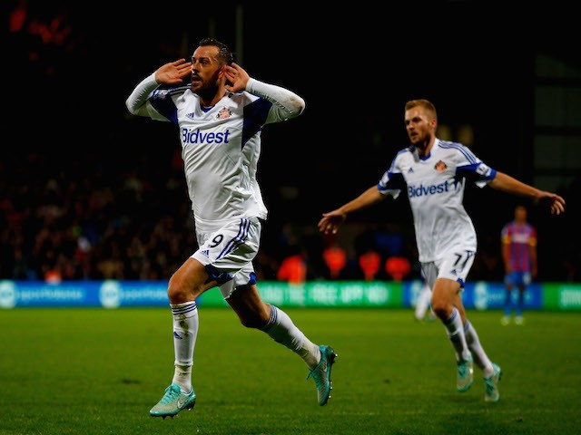 Steven Fletcher of Sunderland celebrates after scoring the opening goal during the Barclays Premier League match against Crystal Palace on November 3, 2014