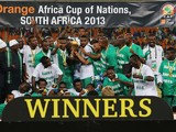 Joseph Yobo and team mates celebrate with the trophy after winning the 2013 Africa Cup of Nations Final match between Nigeria and Burkina at FNB Stadium on February 10, 2013