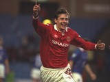 Andrei Kanchelskis of Manchester United celebrates his goal during the FA Cup semi-final replay against Oldham at Maine Road on 13 April, 1994
