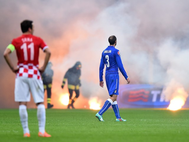 Georgio Chiellini of Italy #3 during the EURO 2016 Group H Qualifier match between Italy and Croatia at Stadio Giuseppe Meazza on November 16, 2014