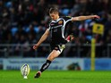 Gareth Steenson of Exeter Chiefs kicks a penalty during the Aviva Premiership match between Exeter Chiefs and Wasps at Sandy Park on November 22, 2014